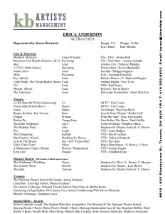 ERICA ANDERSON RESUME KB ARTISTS MANAGEMENT