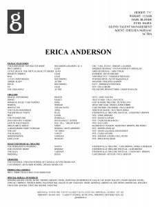 resume, Erica Anderson, Glenn Talent