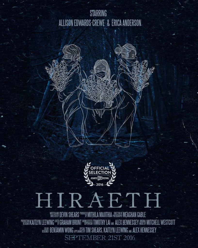 Poster for Hiraeth a short film written and directed by Devin Shears, starring Alison Edwards-Crewe and Erica Anderson