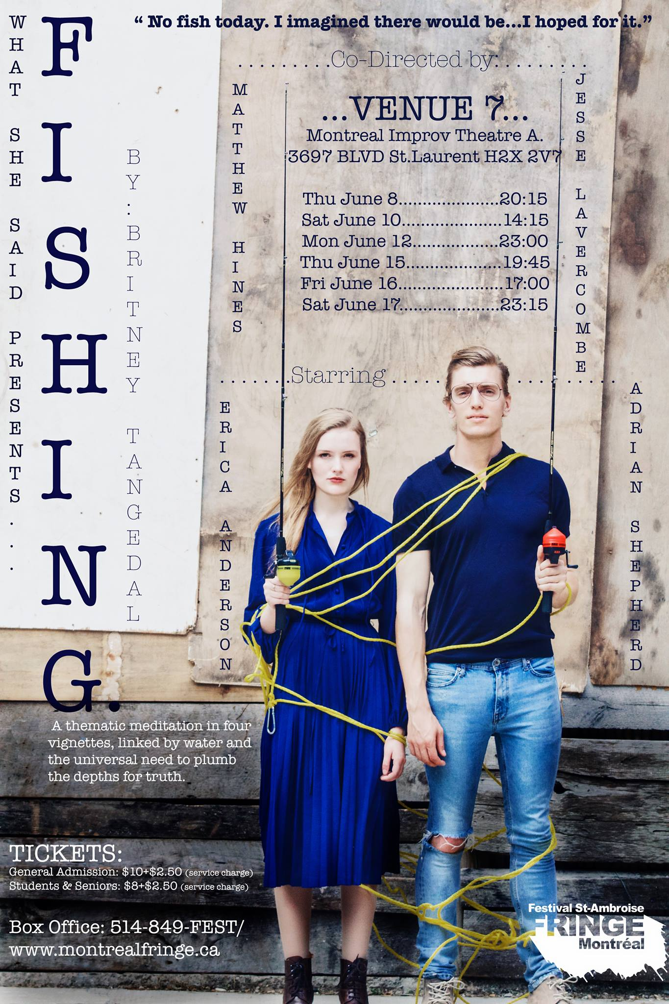 Fishing at The Montreal Fringe, Starring Erica Anderson and Adrian Shepard