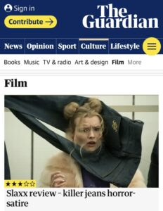 Erica Anderson being strangled by Killer Jeans in The Guardian review of SLAXX