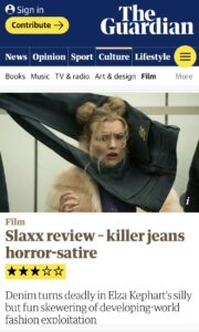 Erica Anderson being Stangled by Killer Jeans in SLAXX Reviewed by The Guardian